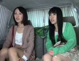 Two delicious Asian babes have threesome sex in a car picture 15