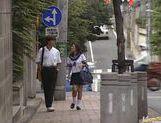 Blowjob pro Akira Fubuki in her school uniform