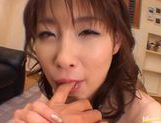 Akane Sakura gets a hard fuck and takes cum in mouht. picture 9