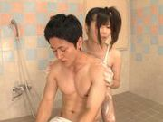 Asian teen Haru Sasaki fucked hard after giving a soapy massage