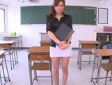 Sexy Asian teacher Yuna Shiina classroom masturbation picture 13
