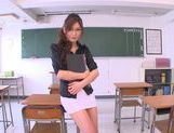 Sexy Asian teacher Yuna Shiina classroom masturbation