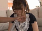 Junna Hara's hairy pussy gets pleasured with big sex toy