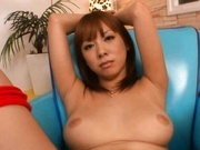 Hairy pussy babe Asuka vibrator solo action!