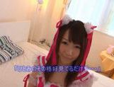 Perty teen babe Hitomi Oki sucking and riding on a hard and meaty cock