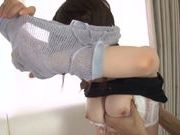 Japanese model with natural tits enjoys a huge cock