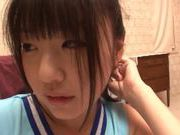 Japanese AV Model in cheerleading outfit hardcore action with cum in mouth