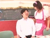 Frisky Japanese young girls share hard cock of impressive guy