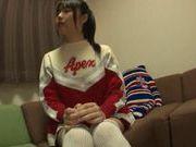 Japanese AV model is a hot cheerleader that loves masturbation and fucking