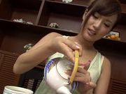 Asian milf Kokone Mizutani is a housewife enjoying sucking cock
