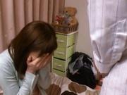 Yuma Asami gets sticky cum on her throat!