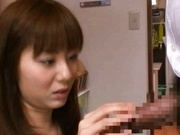 Yuma Asami gets sticky cum on her throat!