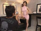 Lovely and busty chick Makato Yuukiin her sexy dress teasing and fucked