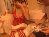 Sexy and kinky babe in her tight and sexy Santa suit teasing and giving blowjob picture 11