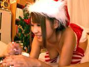 Sexy and kinky babe in her tight and sexy Santa suit teasing and giving blowjobhot asian girls, asian babe}
