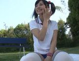 Gorgeous Japanese AV teen girl Hitomi Miyano enjoys facial picture 1