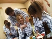 Group Of Hot Japanese AV Models Munch Carpets