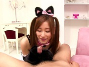 Eiro Chica Asian teen enjoys sucking cock as a catgirl
