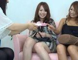Japanese girls have fun riding a hot guys stiff dick