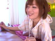Enticing Japanese AV model gives amazing blowjob