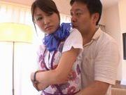 Charming and lovely teen babe Saki Yano in pantyhose fondled and banged hard