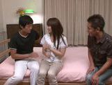 Cute and young Japanese hot woman was fucked by two man