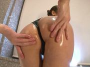 Big-tittied Japanese AV model gets oiled and drilled by a toy