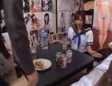Chika Eiro in sexy uniform enjoys some group sex!