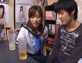 Chika Eiro in sexy uniform enjoys some group sex! picture 12