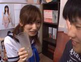 Chika Eiro in sexy uniform enjoys some group sex! picture 13