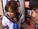 Chika Eiro in sexy uniform enjoys some group sex! picture 15