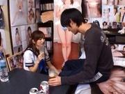 Chika Eiro in sexy uniform enjoys some group sex!