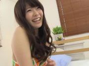Big titted Japanese AV model enjoys sitting down on his erection