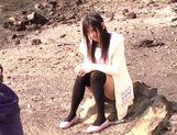 Sweet Nana Ogura Asian teen in black stockings cock sucking  picture 3