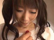 Hot Japanese babe Hitomi Oki gets cum facial