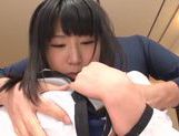 Kinky Asian babe with pink pussy Akari Ozaki gets cum on face picture 11