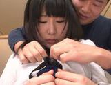Kinky Asian babe with pink pussy Akari Ozaki gets cum on face picture 12