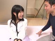 Kinky Asian babe with pink pussy Akari Ozaki gets cum on face