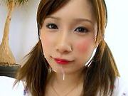 First lesson at giving good blowjob for eager Minami Kojimacute asian, asian girls}