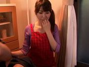 Frisky Japanese housewife Chibana Meisa covers muff with jizz