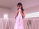 Hitomi Honjou Gives Two Guys Blowjobs In Her Tight Swimsuit picture 5