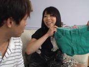 Japanese AV Model's hairy pussy gets licked and fucked