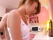 Hot milf Ria Mamu sucks in the kitchen