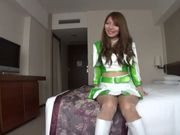 Lovely Asian model in cheerleader outfit hot Race Queen