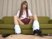 Horny guy gets kinky foot job from Japanese AV model