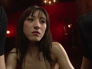 Luscious Japanese milf  Kanako Iioka gives a double blowjob on close-uphot asian pussy, asian schoolgirl}