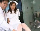 Naughty nurse Rin Sakuragi is examined and rear fucked at the doctor's