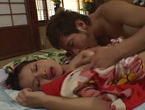 Fancy Japanese milf in kimono experiences hardcore threesome bang picture 11