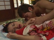 Fancy Japanese milf in kimono experiences hardcore threesome bang