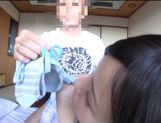 Beautiful Japanese Av model is covered in a massive cum facial picture 14